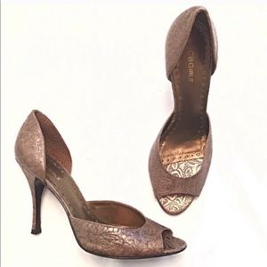 BOGO BCBG bronze tan open toe leather heels 9